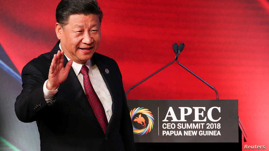 President of China Xi Jinping arrives for the APEC CEO Summit 2018 at Port Moresby, Papua New Guinea, Nov. 17, 2018.
