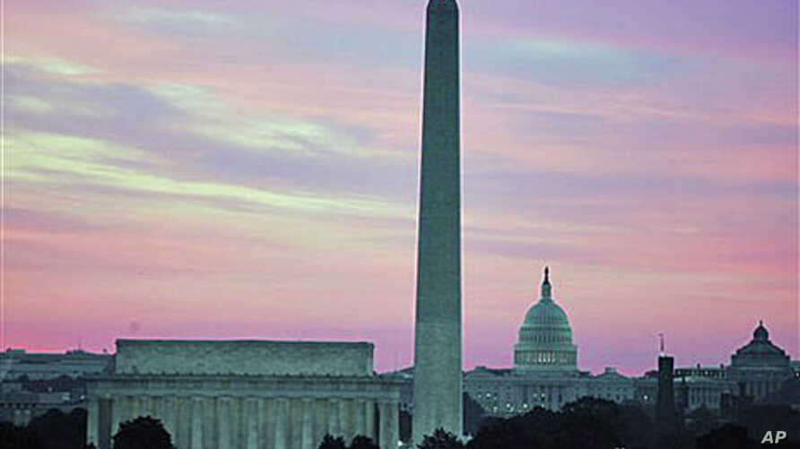 File photo shows the skyline of Washington, DC, including the Washington Monument, the Lincoln Memorial and the US Capitol