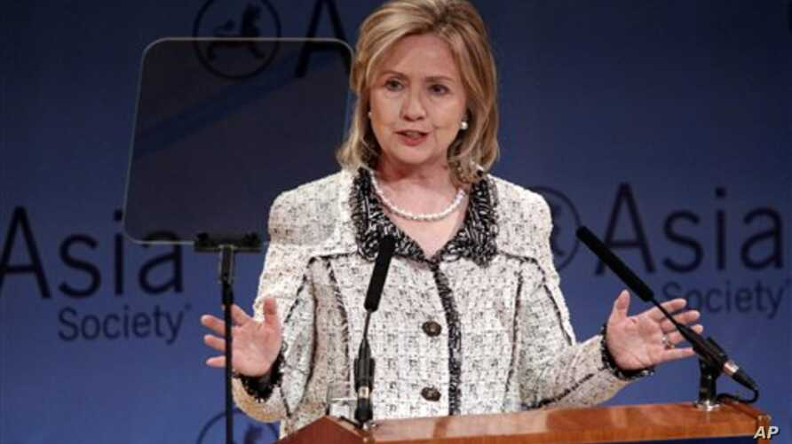 U.S. Secretary of State Hillary Clinton speaks during a tribute in memory of Ambassador Richard Holbrooke at the Asia Society in New York, February 18, 2011