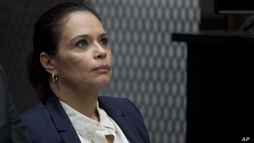 FILE - Guatemala's former Vice President Roxana Baldetti attends her hearing inside a courtroom in Guatemala City, Aug. 24, 2015.