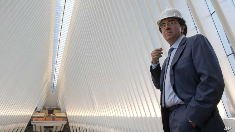 FILE - Spanish-born architect Santiago Calatrava poses for a portrait during a media tour of the World Trade Center transportation hub in New York.
