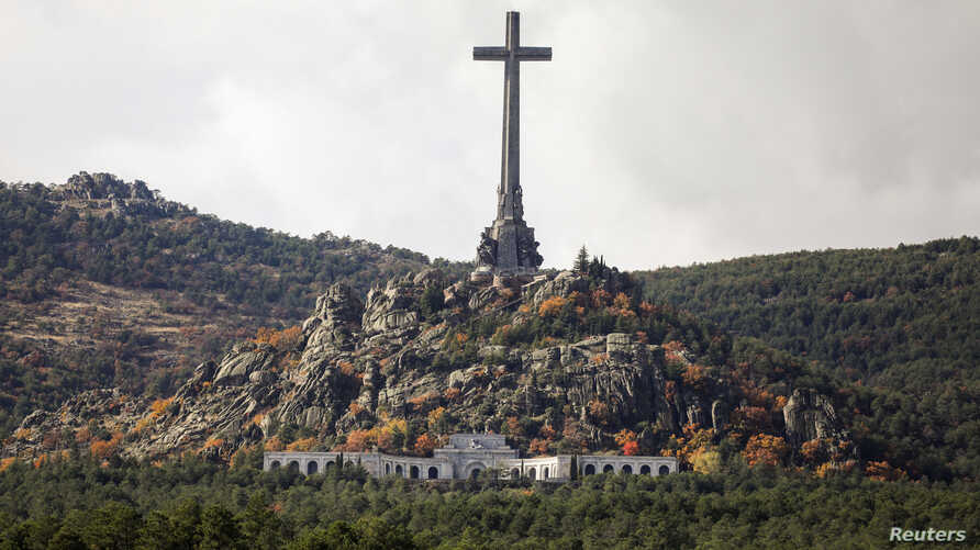 FILE - General view of the Valle de los Caidos (Valley of the Fallen), the mausoleum holding the remains of former Spanish dictator Francisco Franco, on the 43rd anniversary of his death in San Lorenzo de El Escorial, outside Madrid, Spain