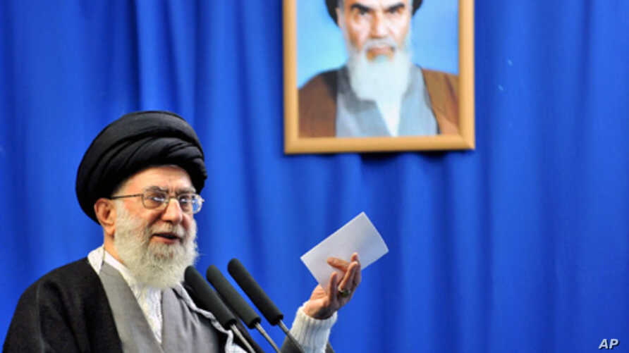 """Iran's supreme leader Ayatollah Ali Khamenei speaks during Friday prayers in Tehran. Khamenei saluted on Friday what he termed an """"Islamic liberation movement"""" in the Arab world, and advised the people of Egypt and Tunisia to unite around their relig"""
