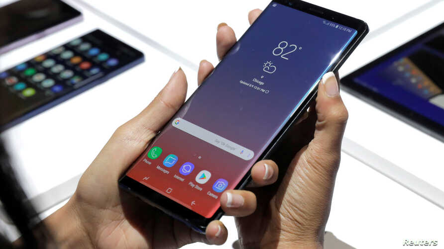The new Samsung Galaxy Note 9 is seen during a product launch event in Brooklyn, New York, U.S., Aug. 9, 2018.