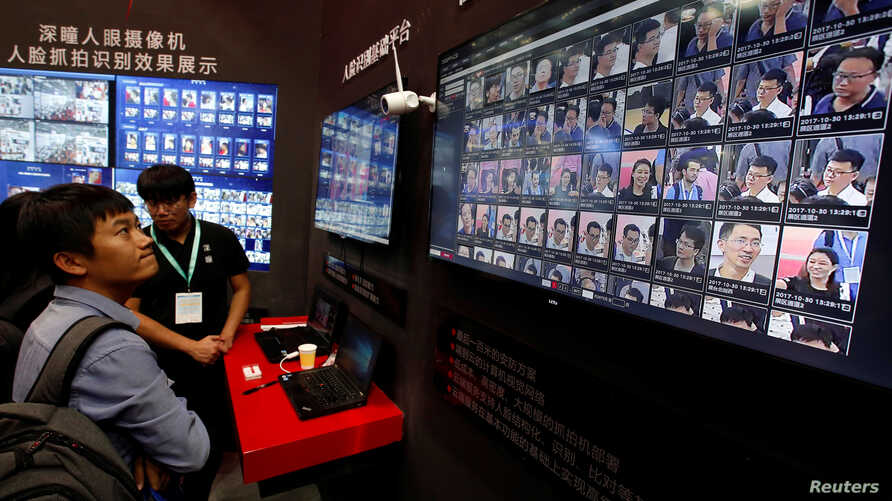 Facial recognition technology is shown at DeepGlint booth during the China Public Security Expo in Shenzhen, China, Oct. 30, 2017.