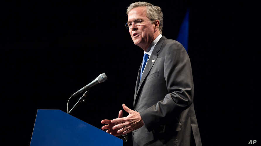 FILE - Former Florida Governor and Republican presidential candidate Jeb Bush is seen speaking at a party fundraiser in Nashville, Tennessee, May 30, 2015.