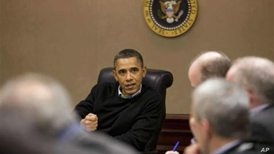 President Barack Obama is briefed on events in Egypt by his national security team meeting in the Situation Room of the White House, Washington, DC, January 29, 2011