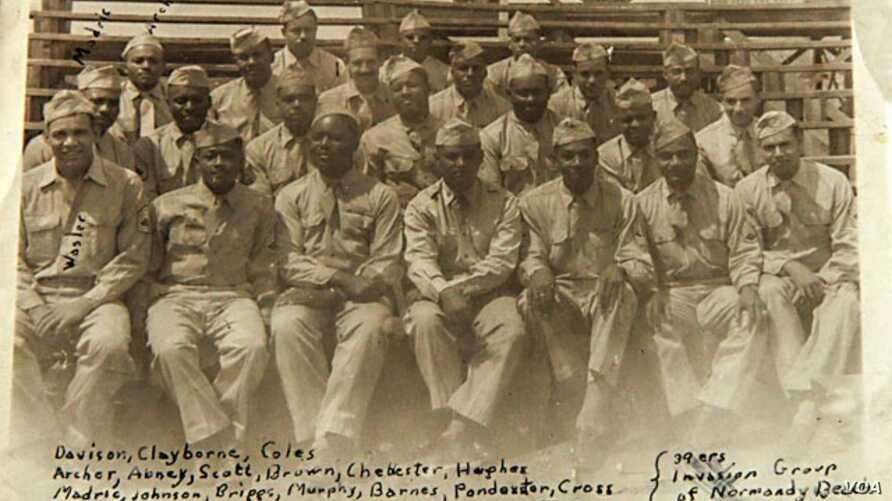 George Davison scrawled the names of his buddies from the 320th on this snapshot taken in Octeville, France in July 1944. (Photo: Courtesy of Bill Davison)