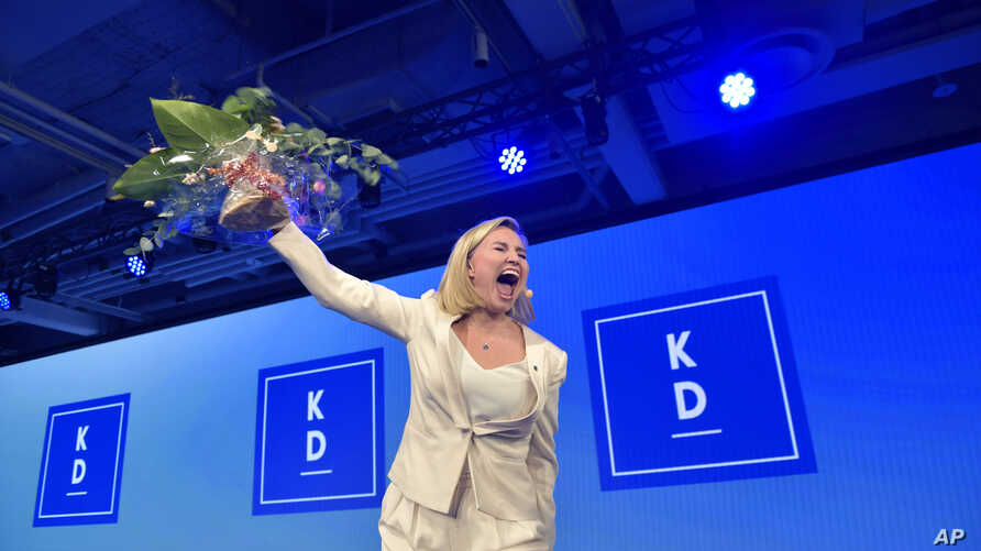 The Christian Democrats party leader Ebba Busch Thor speaks at the election party in Stockholm, Sweden, Sept. 9, 2018.