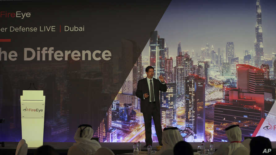 Tony Cole, Vice President of FireEye Inc., a cybersecurity firm headquartered in Milpitas, California, speaks at the FireEye Cyber Defence Live conference, Sept. 12, 2017, in Dubai, United Arab Emirates.