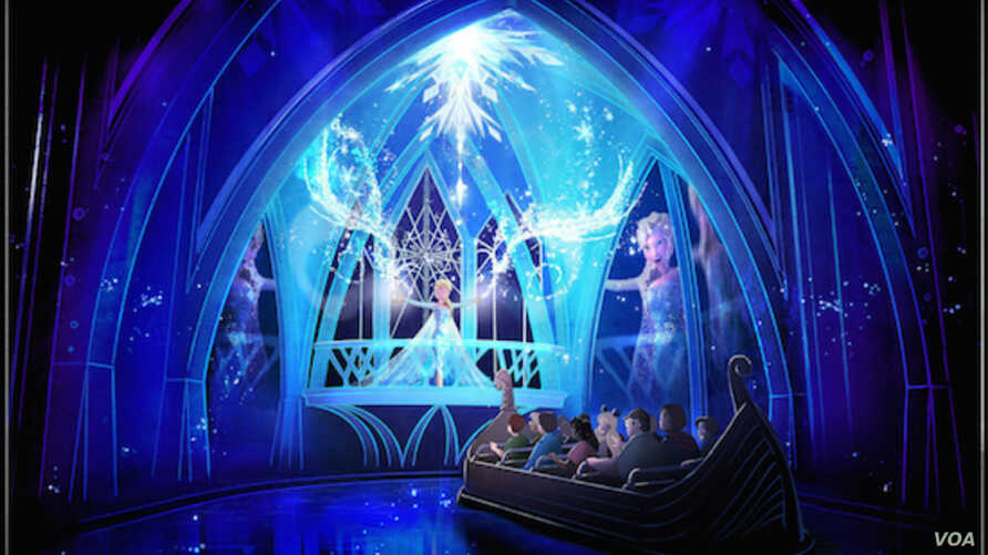 An artist's rendering of what the new Frozen Ever After boat ride, which is set to debut in early 2016 in the Norway pavilion of Florida's Epcot theme park, will look like.