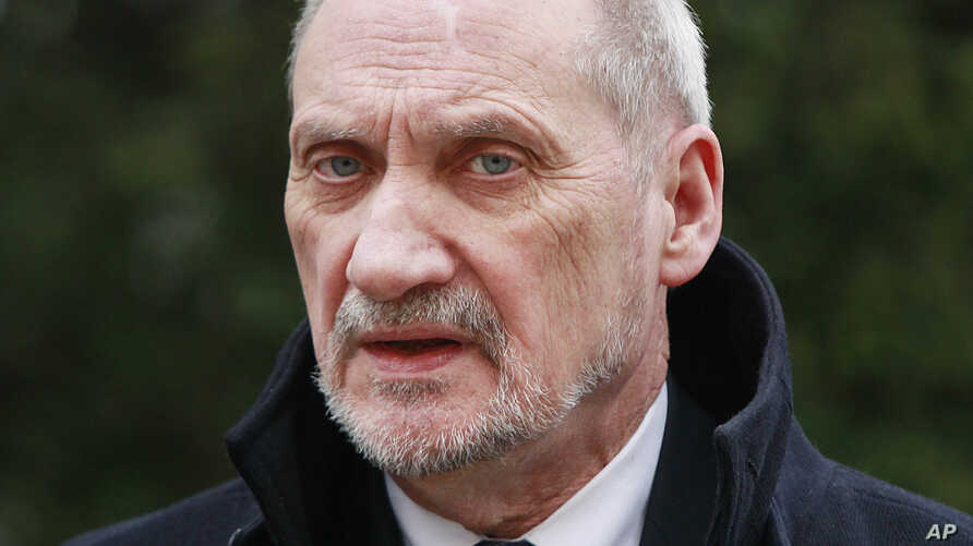 Poland's Defense Minister Antoni Macierewicz attends a meeting with his Latvian counterpart, Raimonds Bergmanis, in Warsaw, Poland, Monday, March 14, 2016.