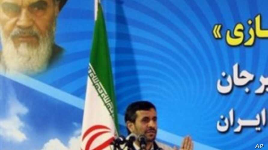 A handout picture obtained from the Iranian president's office shows the Islamic republic's President Mahmoud Ahmadinejad delivering a speech in southern city of Sirjan, 03 Apr 2010