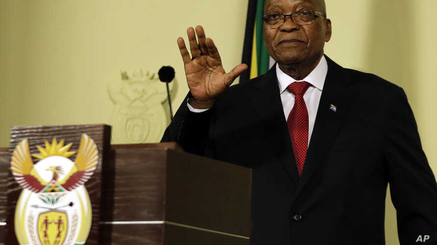 South African President Jacob Zuma gestures as he addresses the nation and press at the government's Union Buildings in Pretoria, South Africa, Feb. 14, 2018.
