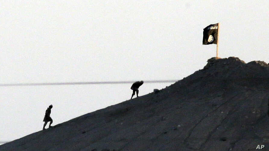 FILE - In this image shot with an extreme telephoto lens and through haze from the outskirts of Suruc at the Turkey-Syria border, militants with the Islamic State group are seen after placing their group's flag on a hilltop at the eastern side of the