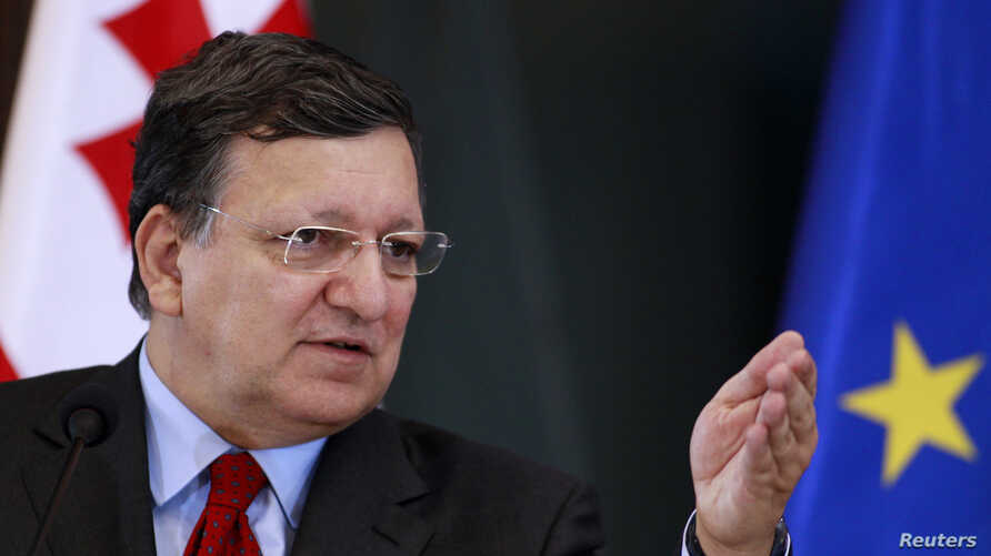 European Commission President Jose Manuel Barroso speaks during a news conference in Tbilisi, Georgia, June 12, 2014.