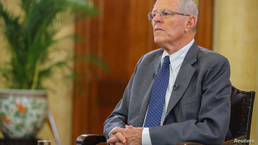 Peruvian President Pedro Pablo Kuczynski gives an interview to the media at the Government Palace in Lima, Dec. 17, 2017.
