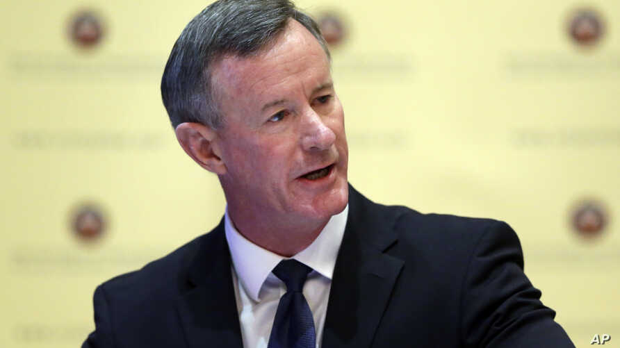 FILE - Navy Adm. William McRaven,  the next chancellor of the University of Texas System, addresses the Texas Board of Regents, Aug. 21, 2014, in Austin, Texas.