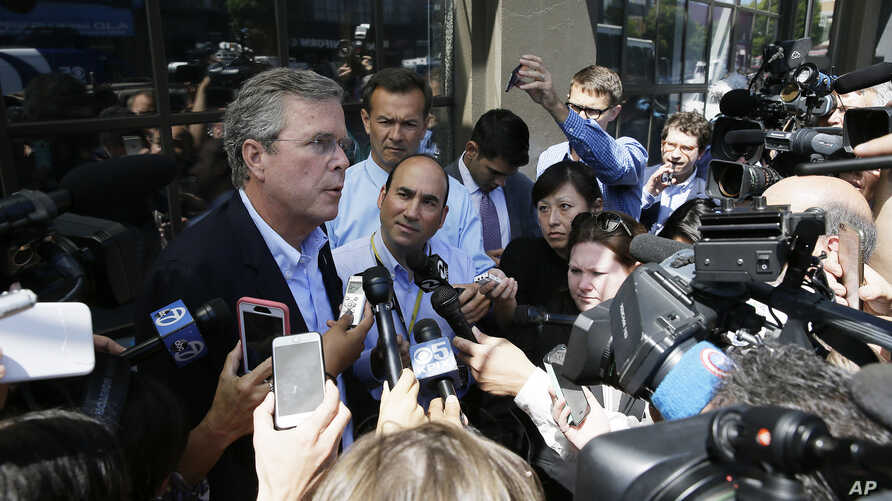 """Republican presidential candidate Jeb Bush, speaking to reporters in San Francisco on July 16, 2015, has called the global powers' nuclear accord with Iran """"appeasement,"""" rather than diplomacy."""