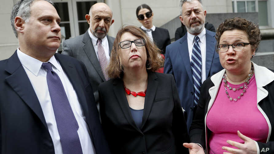 ACLU attorney Lee Gelernt, left; Margo Schlanger, professor of law at the University of Michigan, center; and ACLU attorney Miriam Aukerman speak to reporters outside the U.S. Courthouse in Cincinnati, April 25, 2018. A federal appeals panel was to h
