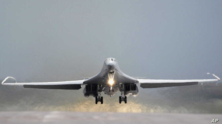 FILE - This July 24, 2008 file photo provided by the U.S. Air Force shows a 34th Bomb Squadron B-1B Lancer taking off from Ellsworth Air Force Base, S.D.