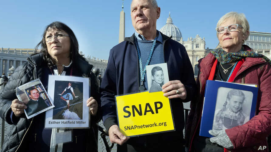 Members of Survivors Network of those Abused by Priests (SNAP) gather in St. Peter's Square at the Vatican during Pope Francis' general audience, Feb. 20, 2019. Organizers of Pope Francis' summit on preventing clergy sex abuse met with a dozen surviv