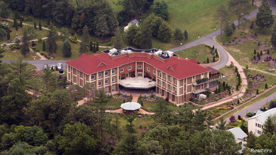 FILE - An aerial view shows Turkish-born Muslim cleric Fethullah Gulen's worship and retreat Center in rural Saylorsburg, Pennsylvania, July 9, 2013.