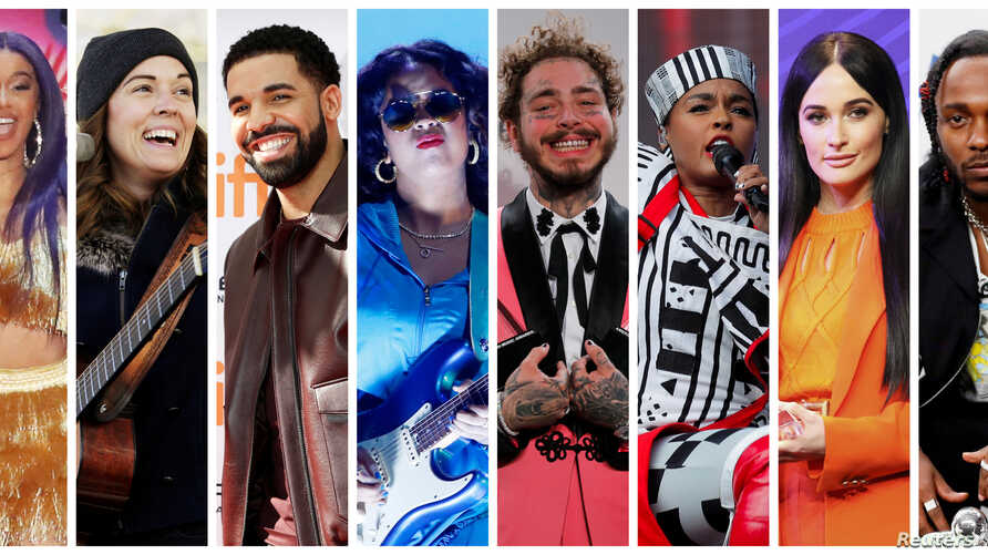 FILE - Grammy Award nominations in Album of the Year category includes artists in this combination photo L-R: Cardi B, Brandi Carlile, Drake, H.E.R., Post Malone, Janelle Monae, Kacey Musgraves and Kendrick Lamar.