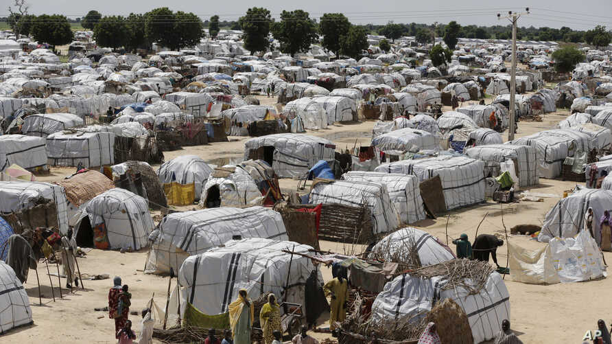FILE - A photo shows a general view of one of the biggest camps for people displaced by Boko Haram and likeminded Islamist extremists in Maiduguri, Nigeria, Aug. 28, 2016.