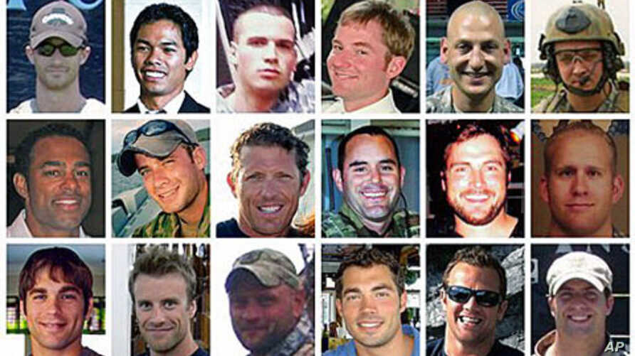 This composite photo shows the 30 troops killed in a helicopter downing in Afghanistan, August 6, 2011