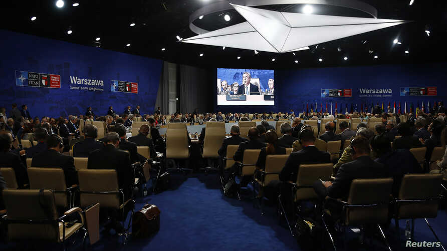 Participants attend the NATO Summit in Warsaw, Poland, July 8, 2016.