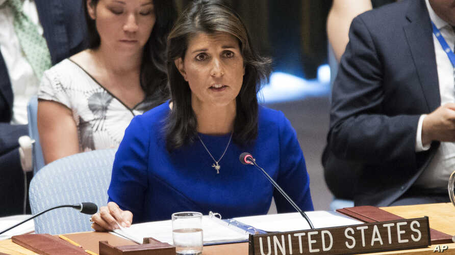 FILE - American Ambassador to the United Nations Nikki Haley speaks during a Security Council meeting on the situation in Myanmar, Aug. 28, 2018, at United Nations headquarters.