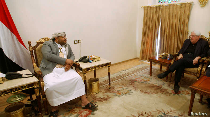 U.N. envoy to Yemen Martin Griffiths meets with Mohamed Ali al-Houthi, head of the Houthi supreme revolutionary committee, in Sanaa, Yemen, Nov. 24, 2018.