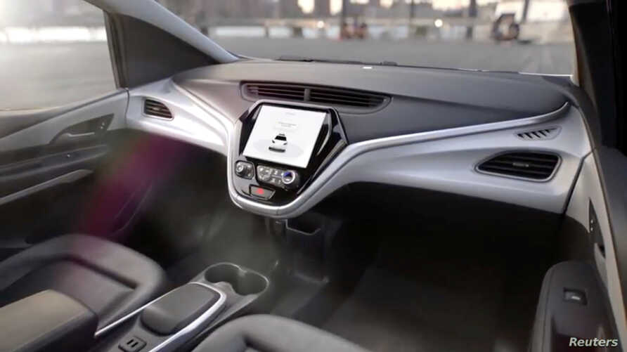 GM's planned Cruise AV driverless car features no steering wheel or pedals in a still image from video released Jan. 12, 2018.