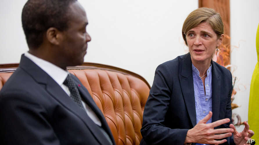 U.S. Ambassador to the United Nations Samantha Power meets with Defense Minister Joseph Beti Assomo at the Ministry of Defense in Yaounde, Cameroon, Tuesday, April 19, 2016.