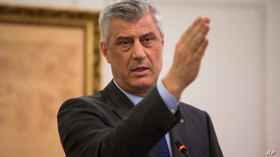 Kosovo president Hashim Thaci gestures during a press conference in Kosovo capital Pristina on Jan. 21, 2019.