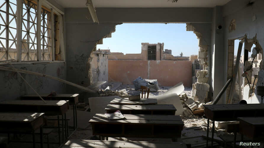 A damaged classroom is pictured after shelling in the rebel held town of Hass, south of Idlib province, Syria, Oct. 26, 2016.