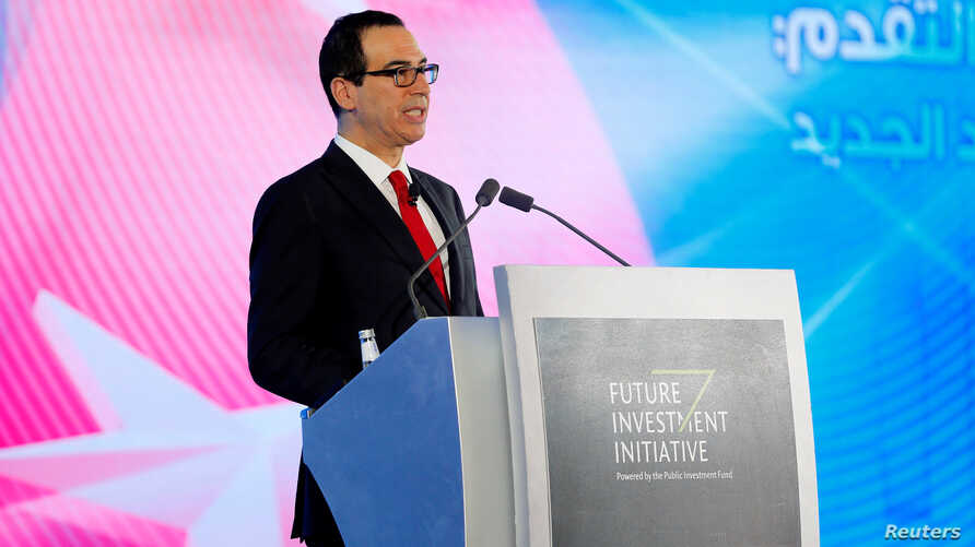 FILE - U.S. Secretary of the Treasury Steven Mnuchin speaks during the Future Investment Initiative conference in Riyadh, Saudi Arabia, Oct. 25, 2017. Mnuchin plans to attend this year's conference despite growing evidence that a Saudi journalist was