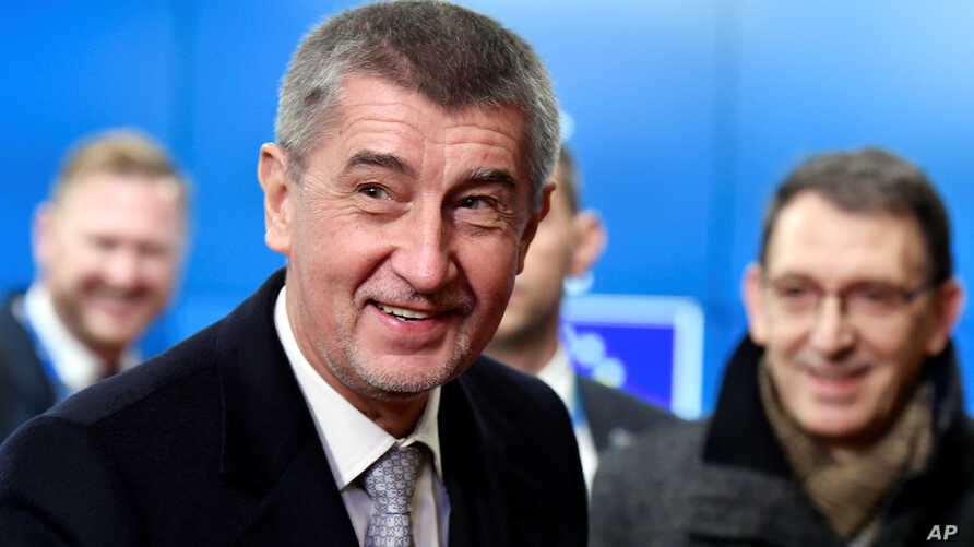 Czech Republic's Prime Minister Andrej Babis arrives for the Visegrad Group meeting in Brussels, Belgium, Dec. 14, 2017