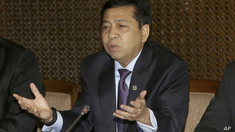 Indonesian House Speaker Setya Novanto speaks during press conference in Jakarta, Indonesia, July 18, 2017.