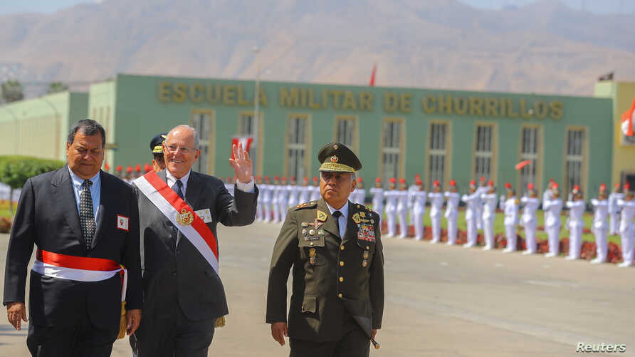 Peruvian President Pedro Pablo Kuczynski attends a ceremony at the air force base in Lima, Peru, Dec. 14, 2017. In a speech at the ceremony, he di not directly address the Odebrecht disclosure about a transfer of $4.8 million to companies linked to h...