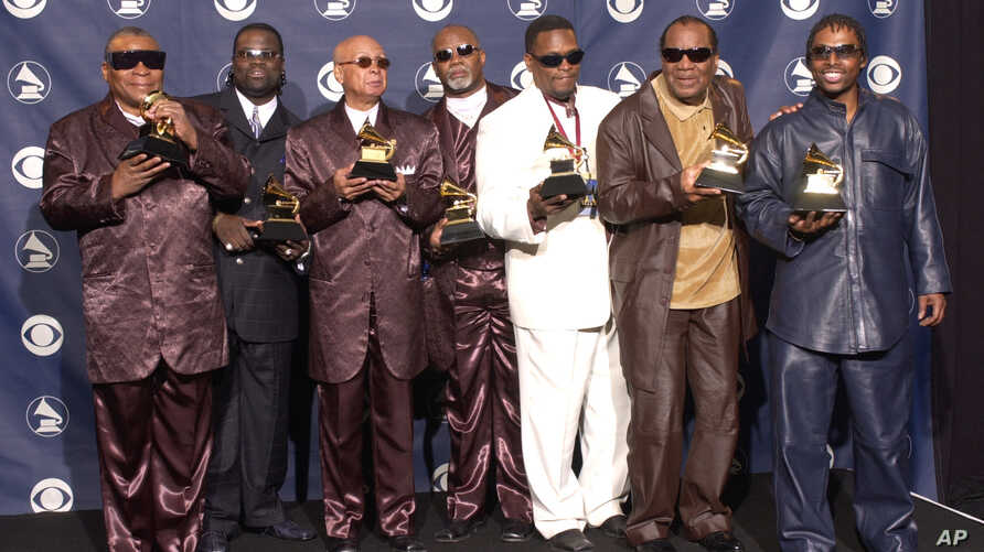 The Blind Boys Of Alabama hold Grammys for Best Traditional Soul Gospel Album at the 45th Annual Grammy Awards, Feb. 23, 2003, in New York.