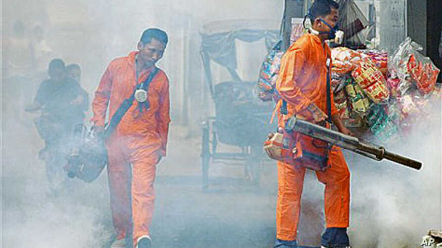 Thai health officials spray chemical to kill mosquitos during a campaign to fight against dengue fever at a slum area on the outskirts of Bangkok, Thailand, May 13, 2005 (file photo)