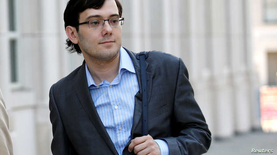 FILE PHOTO: Martin Shkreli, former chief executive officer of Turing Pharmaceuticals and KaloBios Pharmaceuticals Inc, arrives for his trial at U.S. Federal Court in Brooklyn, New York, July 21, 2017.