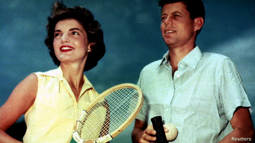 FILE - Jacqueline Bouvier shown with then-Sen. John F. Kennedy in Hyannisport, Mass., on June 27, 1953. They would marry on Sept. 12, 1953.