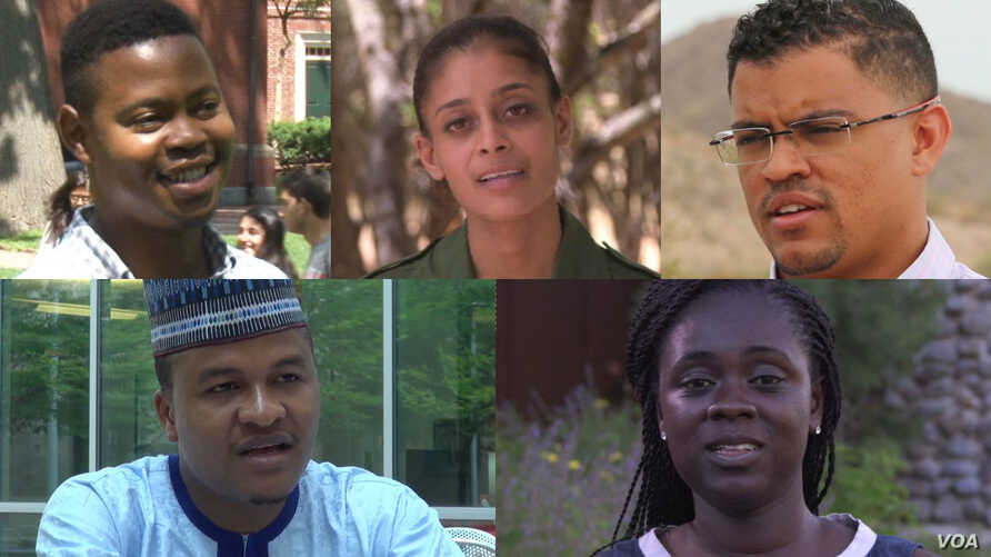 Clockwise, from upper left, Young African Leaders Fellowship attendees Glad Mabele of South Africa, Raabia Hawa of Kenya, Rui Figueiredo Soares of Cape Verde, Adele Boadzo of South Africa, and Balarabe Ismail of Nigeria.