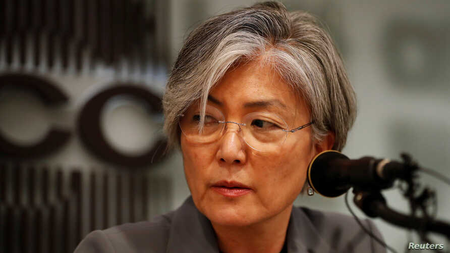 South Korean Foreign Minister Kang Kyung-wha speaks during a news conference in Seoul, South Korea, Sept. 11, 2017.