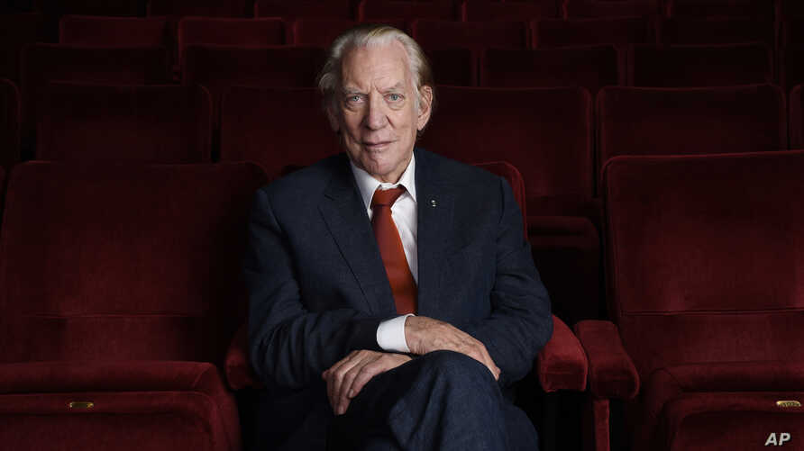 This Oct. 13, 2017, photo shows actor Donald Sutherland at the Academy of Motion Picture Arts and Sciences in Beverly Hills, California. Sutherland will receive an honorary Oscar at the Governors Awards on Nov. 11 in Los Angeles.
