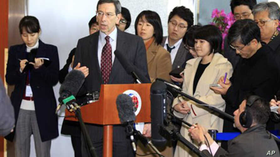 Robert Einhorn, the U.S. State Department's special adviser for non-proliferation, answers reporters' questions at the Foreign Ministry in Seoul, South Korea, March 2, 2011