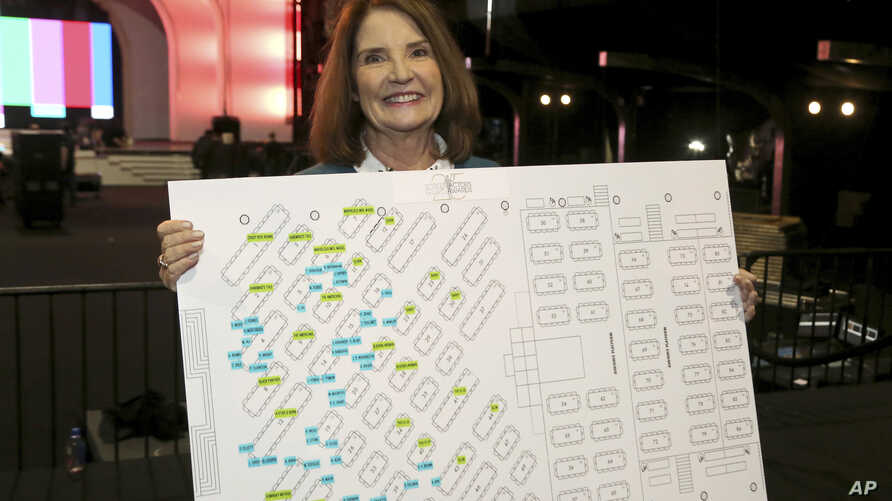 """SAG Awards Executive Producer Kathy Connell holds the seating chart of the ceremony at the 25th Annual SAG Awards """"Cocktails with the SAG Awards"""" event at the Shrine Auditorium and Expo Hall in Los Angeles, Jan. 24, 2019."""